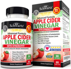 Organic Apple Cider Vinegar Capsules - Natural Weight Loss Management & Appetite Suppressant
