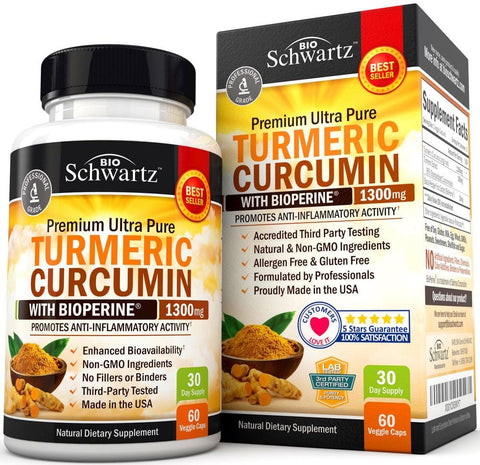 Turmeric Curcumin 1300mg with BioPerine & 95% Standardized Curcuminoids