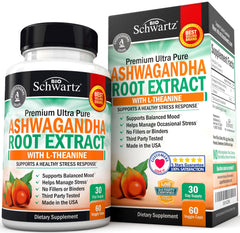 Ashwagandha Root Extract Caps with L-Theanine for Stress & Anxiety Relief