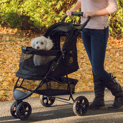 No-Zip Special Edition Pet Stroller, Gold Monogram