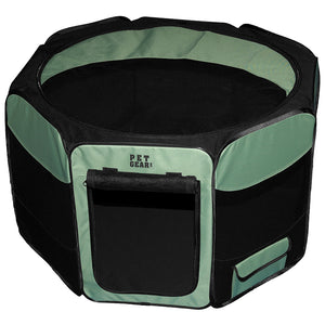 "Octagon Pet Pen With Removable Top, 46"", Sage"