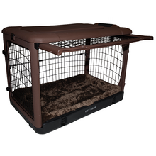 """The Other Door®"" Steel Crate, 36"", with Bolster Pad and Carrying Bag, Chocolate"