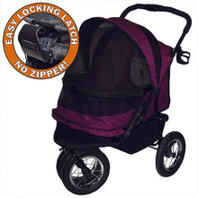 No-Zip Double Pet Stroller, Boysenberry