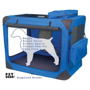 "Generation II Deluxe Portable Soft Crate, 36"", with Pad and Storage Pouches, Blue Sky"
