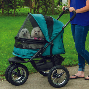No-Zip Double Pet Stroller, Pine Green
