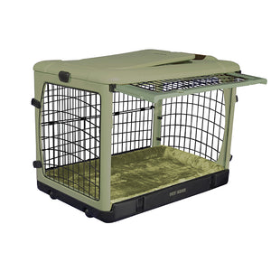 """The Other Door®"" Steel Crate, 27"", with Bolster Pad and Carrying Bag, Sage"