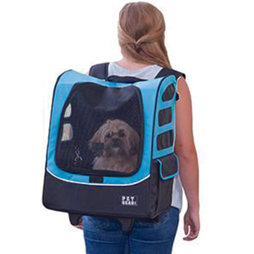 I-GO Plus (Traveler) 5-in-1 Pet Carrier [Backpack/Tote/Roller Bag/Carrier/Car Seat], Ocean Blue