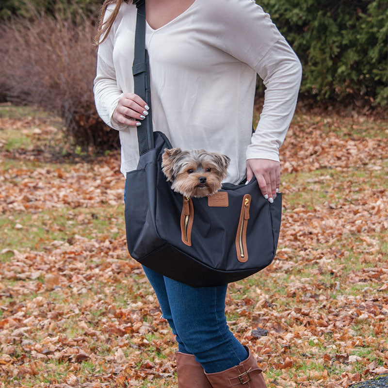 R&R Sling Pet Carrier Purse, Black