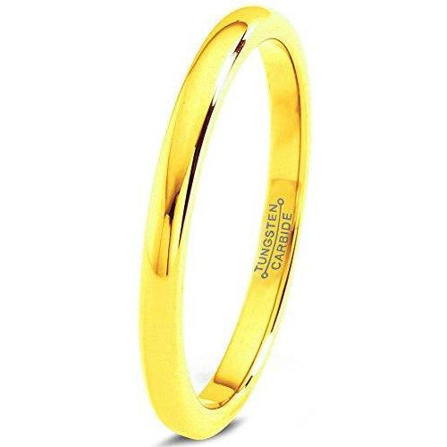 Charming Jewelers Tungsten Wedding Band Ring 2mm Men Women Comfort Fit Grey 18k Rose Yellow Gold Plated Dome Polished - Charming Jewelers
