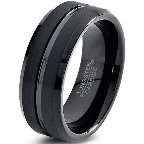 Charming Jewelers Tungsten Wedding Band Ring 8mm Men Women Comfort Fit Grey Black 18K Yellow Gold Plated Bevel Edge Brushed Polished - Charming Jewelers