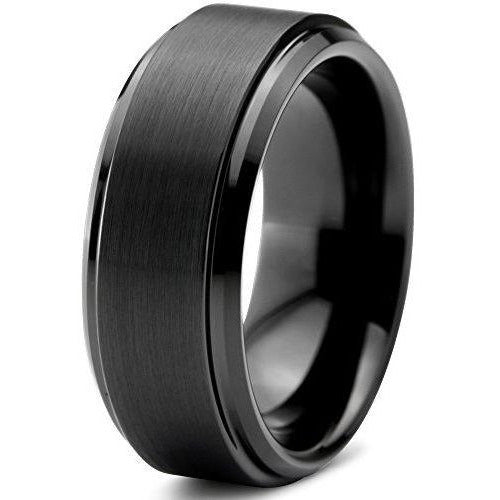 Charming Jewelers Tungsten Wedding Band Ring 8mm Men Women Comfort Fit Black Grey Step Bevel Edge Brushed Polished - Charming Jewelers