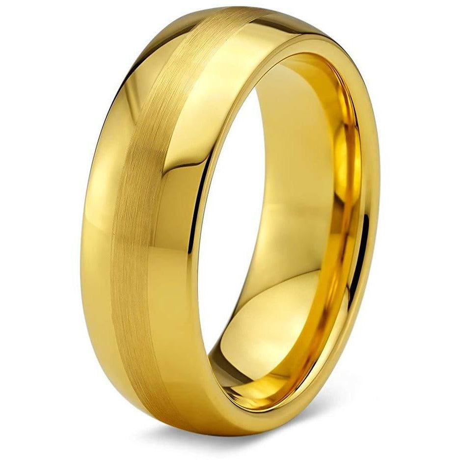 Charming Jewelers Tungsten Wedding Band Ring 6mm for Men Women Comfort Fit 18K Yellow Gold Plated Dome Brushed Polished - Charming Jewelers