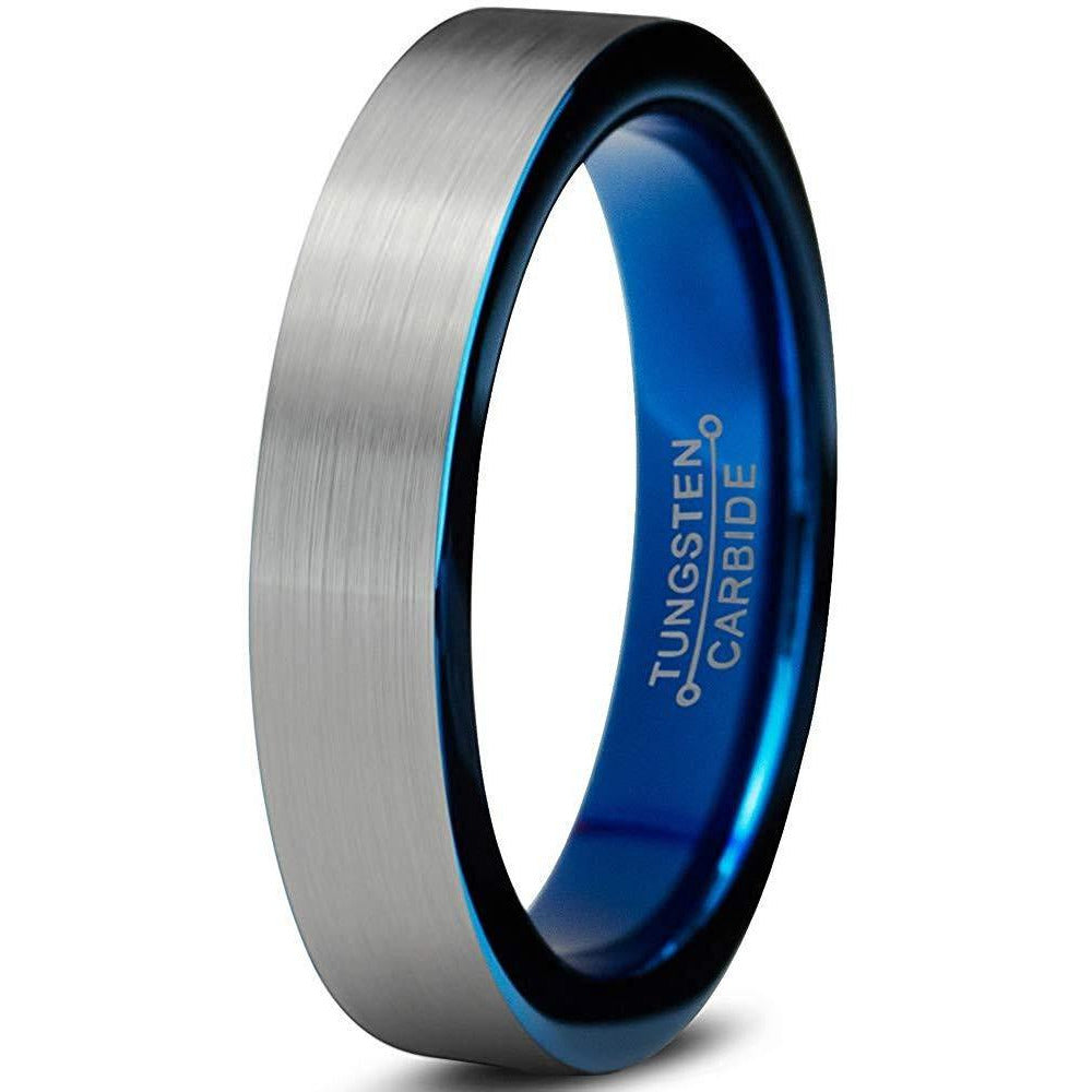 Charming Jewelers Tungsten Wedding Band Ring 4mm Men Women Comfort Fit Black Blue Grey Flat Cut Brushed - Charming Jewelers