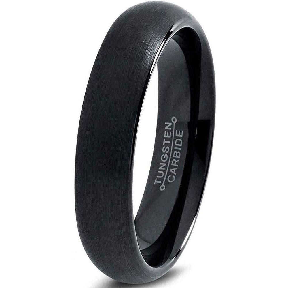 Charming Jewelers Tungsten Wedding Band Ring 4mm for Men Women Comfort Fit Black Domed Brushed - Charming Jewelers