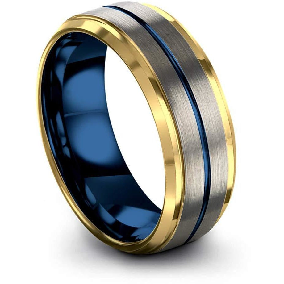 Chroma Color Collection Tungsten Carbide Wedding Band Ring 8mm for Men Women Green Red Blue Purple Black 18K Yellow Gold Grey Center Line Step Bevel Edge Brushed Polished - Charming Jewelers
