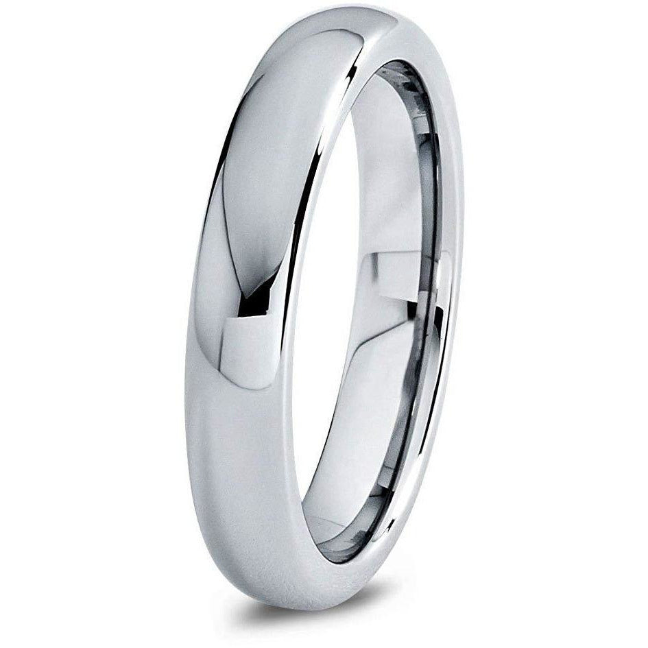 Charming Jewelers Tungsten Wedding Band Ring 4mm for Men Women Comfort Fit Gray Domed Round Polished - Charming Jewelers