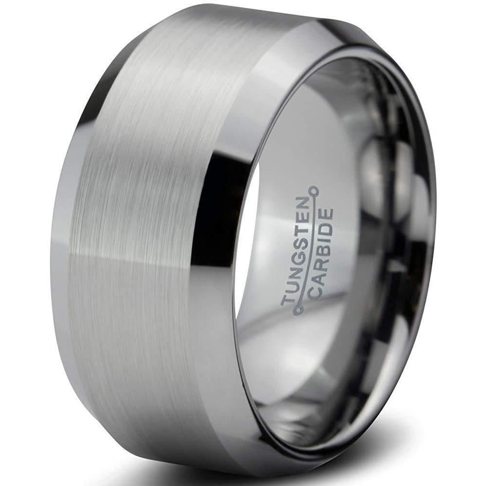 Charming Jewelers Tungsten Wedding Band Ring 10mm for Men Women Comfort Fit Gray Beveled Edges Brushed - Charming Jewelers