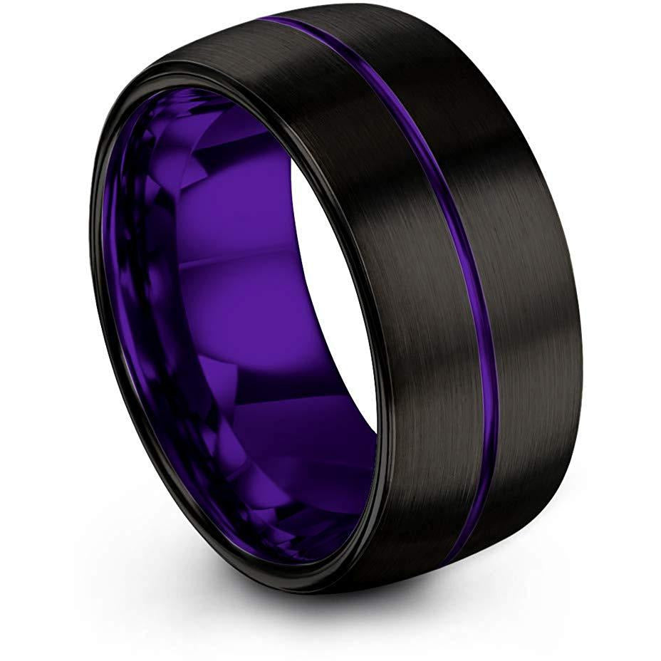 Chroma Color Collection Tungsten Carbide Wedding Band Ring 10mm for Men Women Green Red Fuchsia Copper Teal Blue Purple Black Center Line Dome Black Brushed Polished - Charming Jewelers