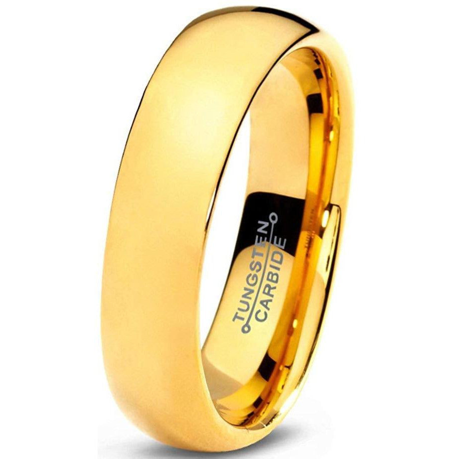 Charming Jewelers Tungsten Wedding Band Ring 5mm for Men Women Comfort Fit 18K Yellow Gold Plated Plated Domed Polished - Charming Jewelers