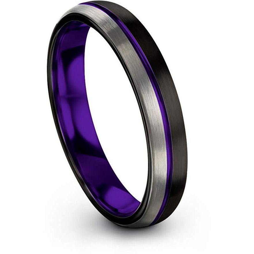 Chroma Color Collection Tungsten Carbide Wedding Band Ring 4mm for Men Women Green Red Fuchsia Copper Teal Blue Purple Black Center Line Dome Black Grey Half Brushed Polished - Charming Jewelers