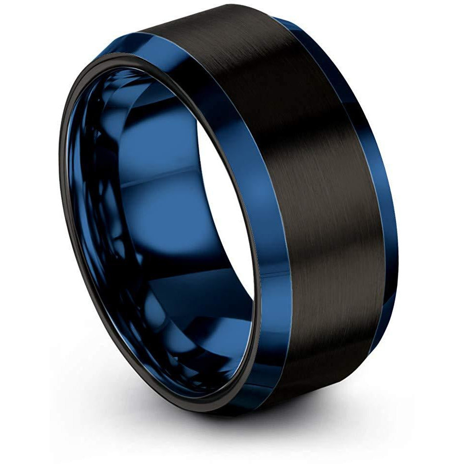 Chroma Color Collection Tungsten Carbide Wedding Band Ring 10mm for Men Women Green Red Blue Purple Black Gunmetal Copper Fuchsia Teal Interior with Blue Beveled Edge Brushed Polished - Charming Jewelers
