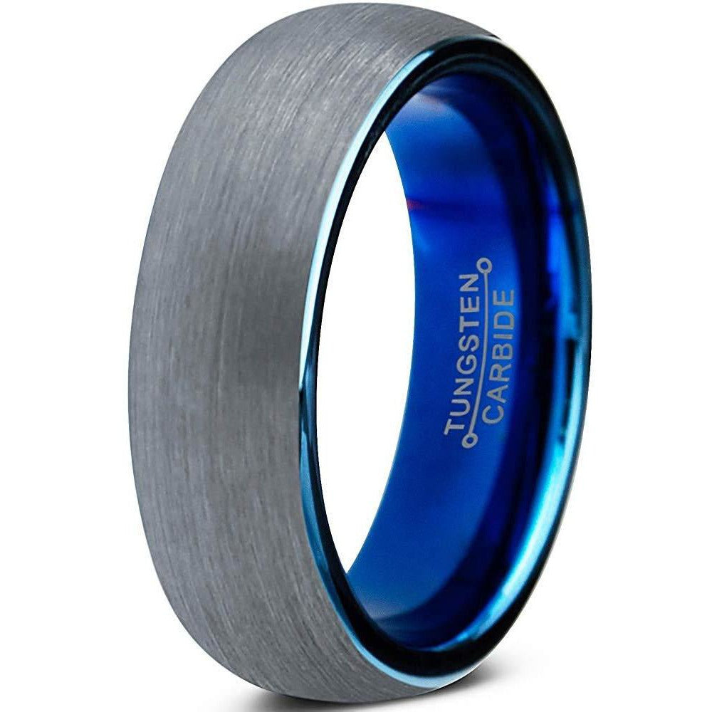 Charming Jewelers Tungsten Wedding Band Ring 6mm for Men Women Comfort Fit Blue Round Domed Brushed - Charming Jewelers