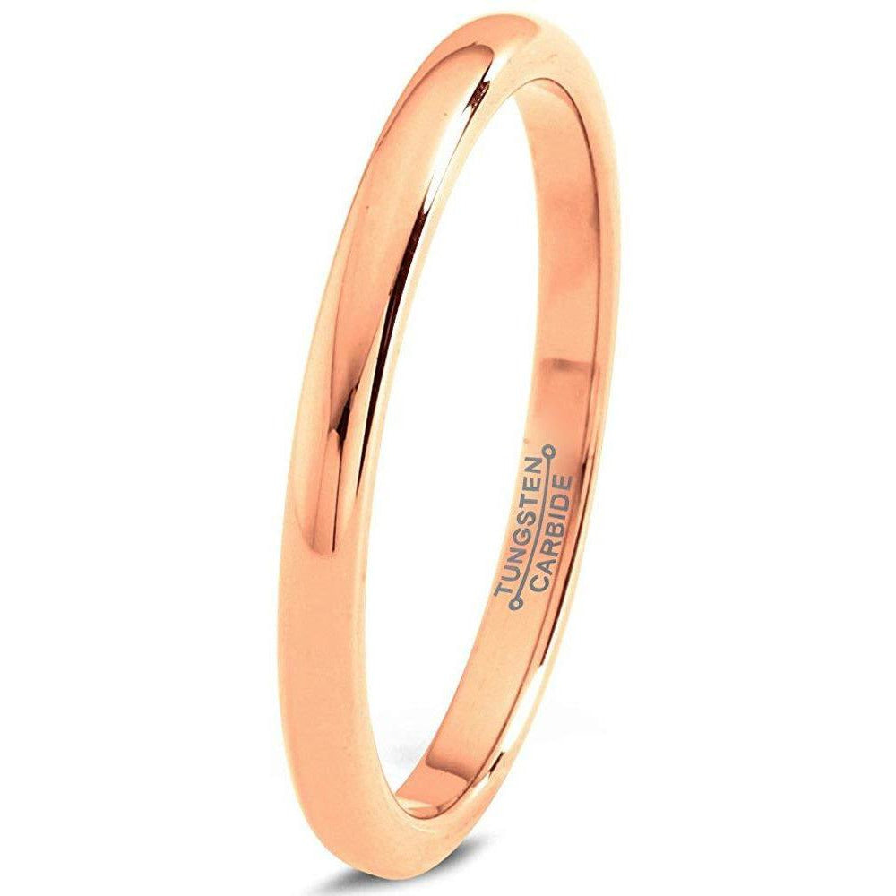 DOME POLISHED TUNGSTEN WEDDING BAND RING IN 2MM  WIDTH, AVAILABLE IN 18K ROSE GOLD, GREY AND YELLOW GOLD PLATED | MEN WOMEN COMFORT FIT | CHARMING JEWELERS - Charming Jewelers