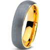DOMED BRUSHED SILVER TUNGSTEN WEDDING BAND RING WITH 18K YELLOW GOLD PLATED, 5MM | CHARMING JEWELERS - Charming Jewelers
