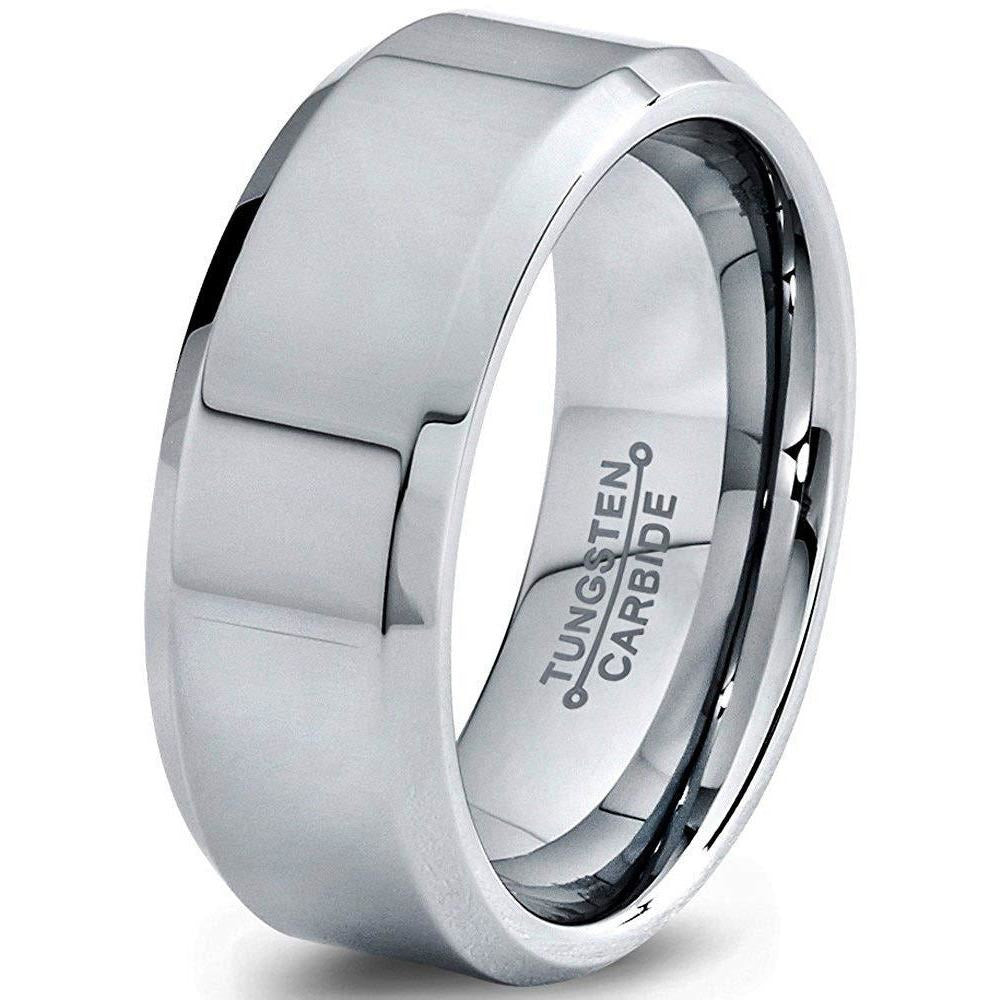 Charming Jewelers Tungsten Wedding Band Ring 8mm Men Women Comfort Fit Grey Black Bevel Edge Polished - Charming Jewelers