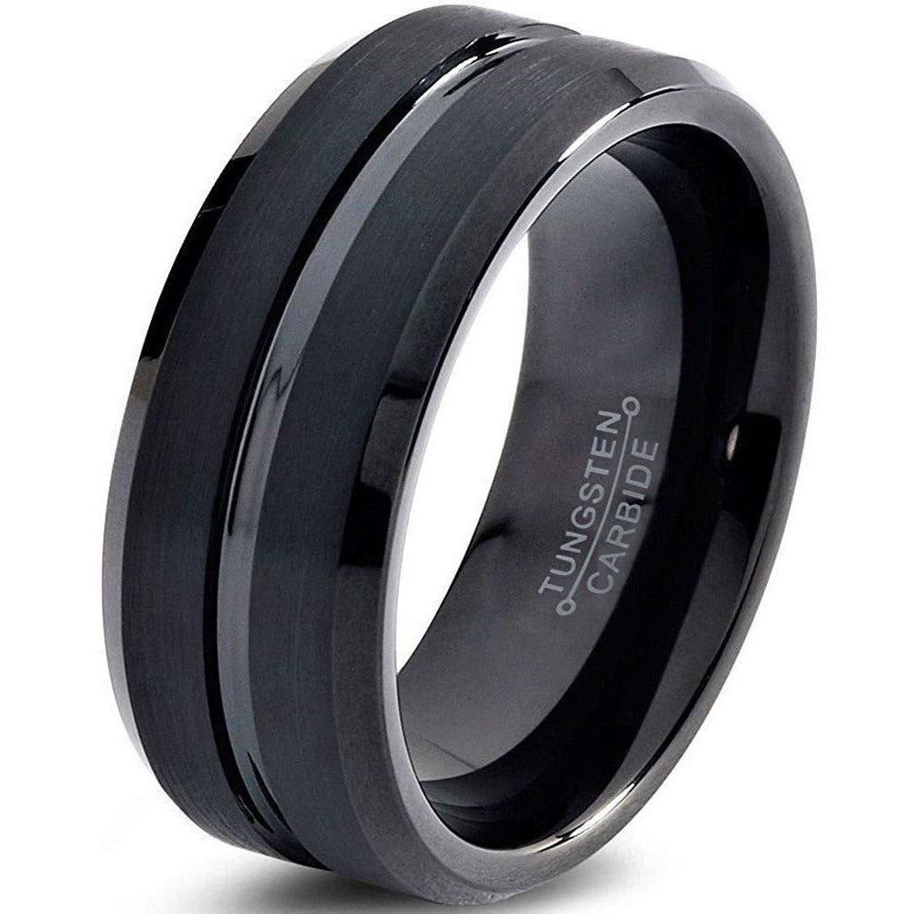 Charming Jewelers Tungsten Wedding Band Ring 10mm for Men Women Comfort Fit Black Beveled Edge Polished Brushed - Charming Jewelers