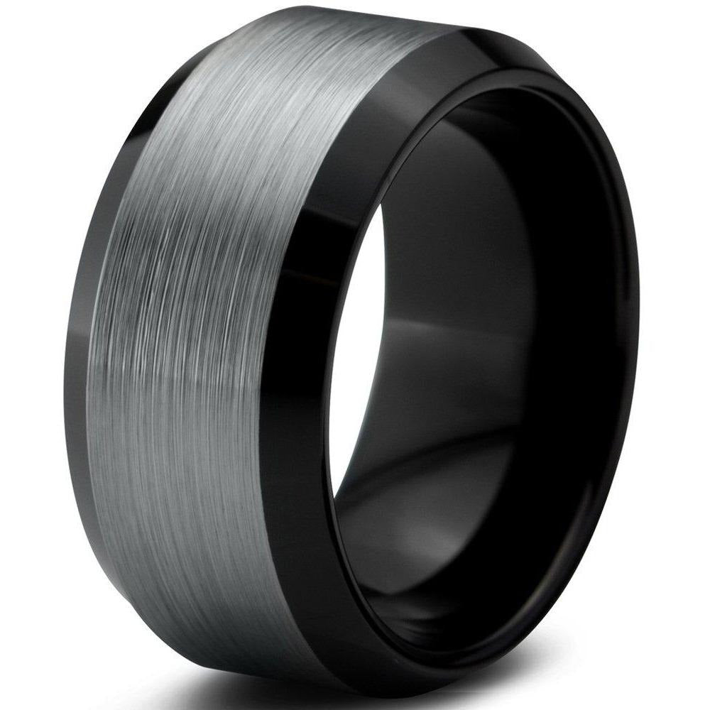 Charming Jewelers Tungsten Wedding Band Ring 10mm for Men Women Comfort Fit Black Beveled Edge Brushed Polished - Charming Jewelers