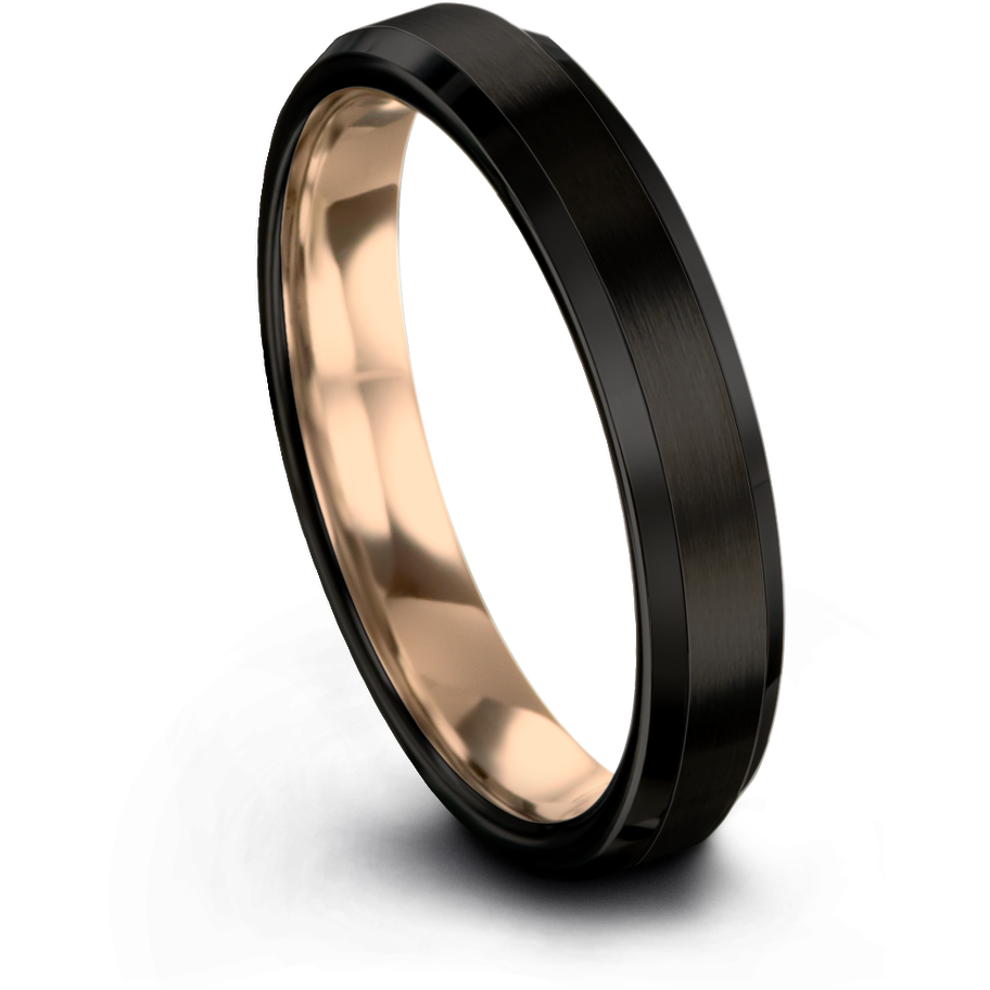 Black & 18k rose gold beveled ring 4mm - Charming Jewelers