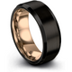 Black & 18k rose gold beveled ring 8mm