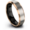 Black & 18k rose gold beveled ring 6mm - Charming Jewelers