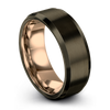Gunmetal & 18K Rose Gold Bevel Ring 8mm - Charming Jewelers