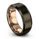 Gunmetal & 18K Rose Gold Bevel Ring 8mm