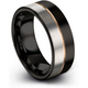 Black & 18k rose gold flat ring 8mm