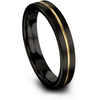 Black & 18k yellow gold flat ring 4mm - Charming Jewelers