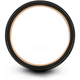 Black & 18k rose gold flat ring 4mm