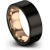 Black & 18k rose gold flat ring 9mm - Charming Jewelers