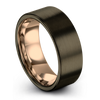 Gunmetal & 18K Rose Gold Flat Ring 8mm - Charming Jewelers