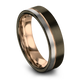 Gunmetal & 18K Rose Gold Flat Ring 6mm