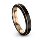 Gunmetal & 18K Rose Gold Dome Ring 4mm