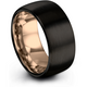 Black & 18k rose gold dome ring 10mm