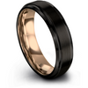 Black & 18k rose gold step edge ring 6mm - Charming Jewelers