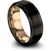 Black & 18k rose gold step edge ring 8mm - Charming Jewelers