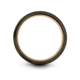Gunmetal & 18K Rose Gold Step Bevel Ring 6mm