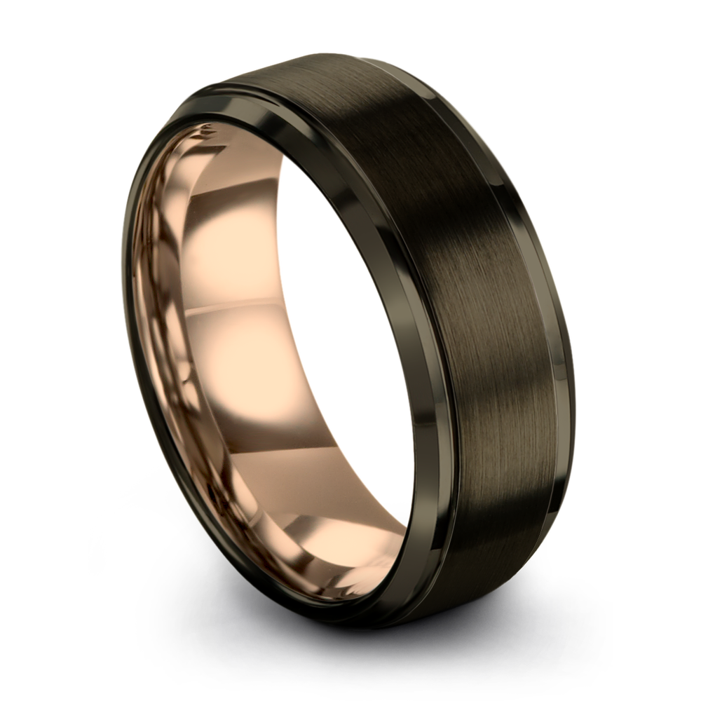 Gunmetal & 18K Rose Gold Step Bevel Ring 8mm - Charming Jewelers