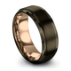 Gunmetal & 18K Rose Gold Step Bevel Ring 8mm