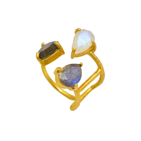 Hidden Treasure Trio Labra Moonstone Ring - Euro Sparkles